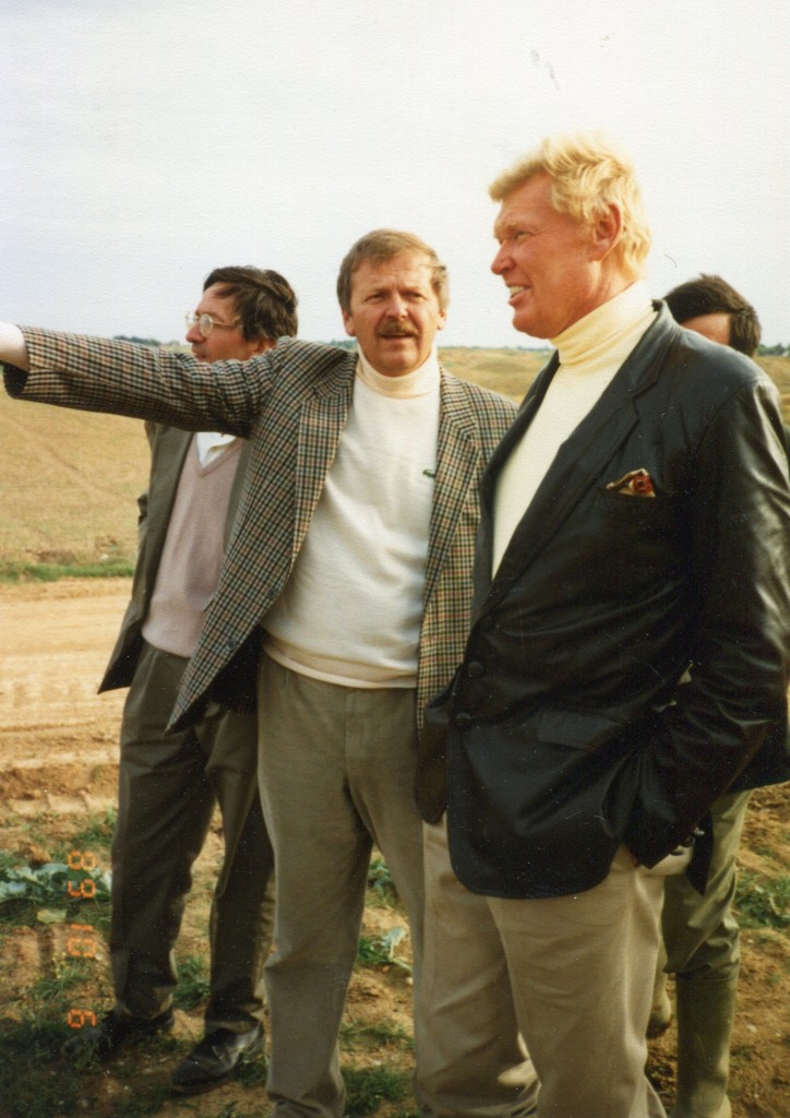 Hubert Chesneau and Robert reviewing progress at Le Golf National (October 6, 1989)